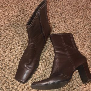 Square Toe Brown Booties